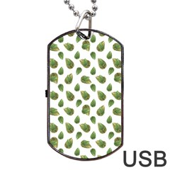 Leaves Motif Nature Pattern Dog Tag USB Flash (Two Sides)
