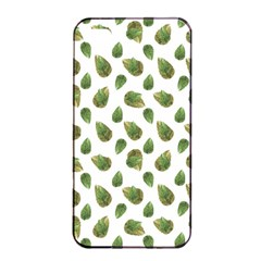 Leaves Motif Nature Pattern Apple iPhone 4/4s Seamless Case (Black)