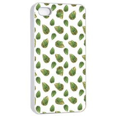 Leaves Motif Nature Pattern Apple iPhone 4/4s Seamless Case (White)