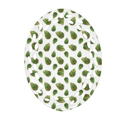 Leaves Motif Nature Pattern Oval Filigree Ornament (Two Sides)