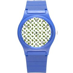 Leaves Motif Nature Pattern Round Plastic Sport Watch (S)