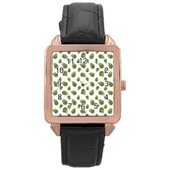 Leaves Motif Nature Pattern Rose Gold Leather Watch