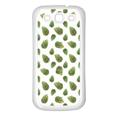 Leaves Motif Nature Pattern Samsung Galaxy S3 Back Case (White)