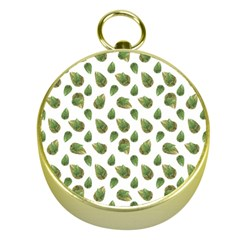 Leaves Motif Nature Pattern Gold Compasses
