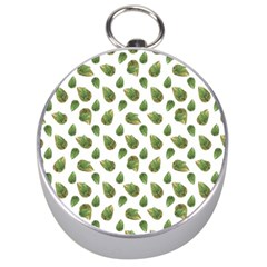 Leaves Motif Nature Pattern Silver Compasses