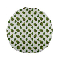 Leaves Motif Nature Pattern Standard 15  Premium Flano Round Cushions