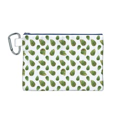 Leaves Motif Nature Pattern Canvas Cosmetic Bag (M)