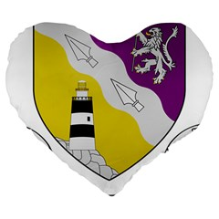 County Wexford Coat of Arms  Large 19  Premium Flano Heart Shape Cushions