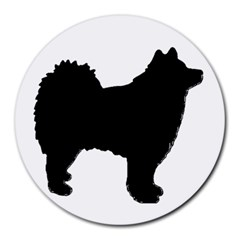 Finnish Lapphund Silhouette Black Round Mousepads