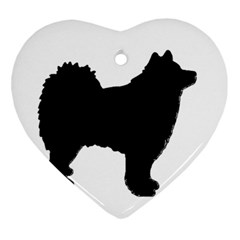 Finnish Lapphund Silhouette Black Ornament (Heart)