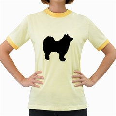 Finnish Lapphund Silhouette Black Women s Fitted Ringer T-Shirts