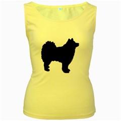 Finnish Lapphund Silhouette Black Women s Yellow Tank Top
