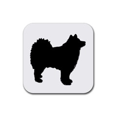 Finnish Lapphund Silhouette Black Rubber Square Coaster (4 pack)