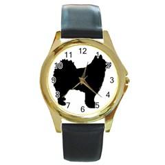 Finnish Lapphund Silhouette Black Round Gold Metal Watch