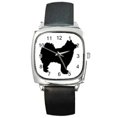 Finnish Lapphund Silhouette Black Square Metal Watch
