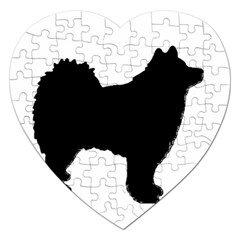 Finnish Lapphund Silhouette Black Jigsaw Puzzle (Heart)