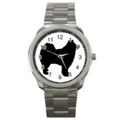 Finnish Lapphund Silhouette Black Sport Metal Watch