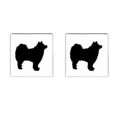 Finnish Lapphund Silhouette Black Cufflinks (Square)