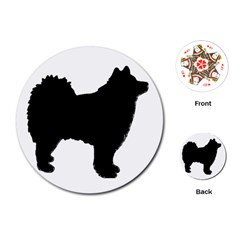 Finnish Lapphund Silhouette Black Playing Cards (Round)