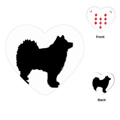 Finnish Lapphund Silhouette Black Playing Cards (Heart)