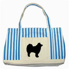 Finnish Lapphund Silhouette Black Striped Blue Tote Bag