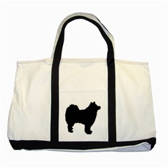 Finnish Lapphund Silhouette Black Two Tone Tote Bag