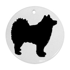 Finnish Lapphund Silhouette Black Round Ornament (Two Sides)