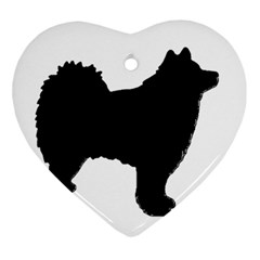 Finnish Lapphund Silhouette Black Heart Ornament (Two Sides)