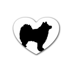Finnish Lapphund Silhouette Black Rubber Coaster (Heart)