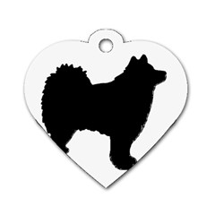 Finnish Lapphund Silhouette Black Dog Tag Heart (Two Sides)