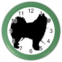 Finnish Lapphund Silhouette Black Color Wall Clocks