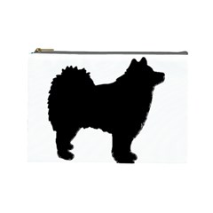 Finnish Lapphund Silhouette Black Cosmetic Bag (Large)