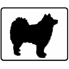 Finnish Lapphund Silhouette Black Fleece Blanket (Medium)