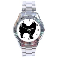 Finnish Lapphund Silhouette Black Stainless Steel Analogue Watch