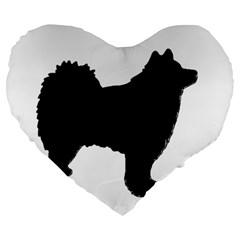 Finnish Lapphund Silhouette Black Large 19  Premium Heart Shape Cushions