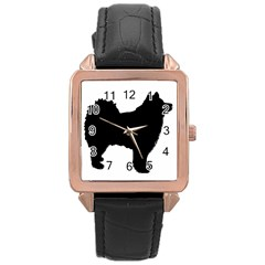 Finnish Lapphund Silhouette Black Rose Gold Leather Watch