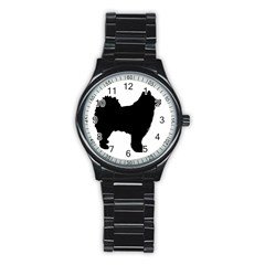 Finnish Lapphund Silhouette Black Stainless Steel Round Watch