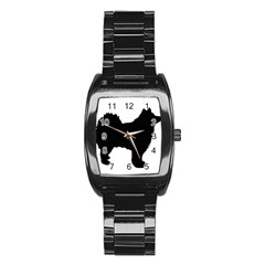 Finnish Lapphund Silhouette Black Stainless Steel Barrel Watch