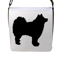 Finnish Lapphund Silhouette Black Flap Messenger Bag (L)