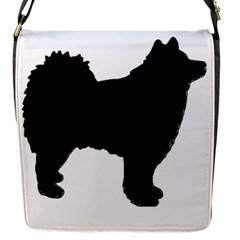Finnish Lapphund Silhouette Black Flap Messenger Bag (S)