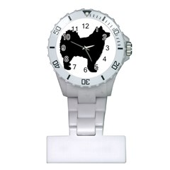 Finnish Lapphund Silhouette Black Plastic Nurses Watch
