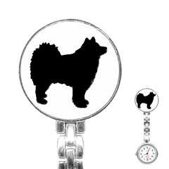 Finnish Lapphund Silhouette Black Stainless Steel Nurses Watch