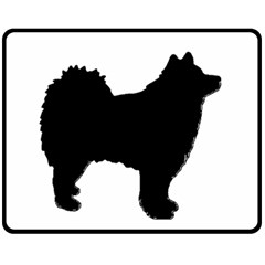 Finnish Lapphund Silhouette Black Double Sided Fleece Blanket (Medium)