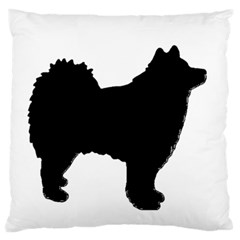 Finnish Lapphund Silhouette Black Large Flano Cushion Case (One Side)