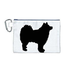 Finnish Lapphund Silhouette Black Canvas Cosmetic Bag (M)