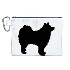 Finnish Lapphund Silhouette Black Canvas Cosmetic Bag (L)