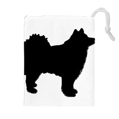Finnish Lapphund Silhouette Black Drawstring Pouches (Extra Large)