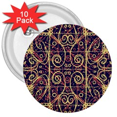 Tribal Ornate Pattern 3  Buttons (10 pack)