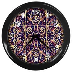 Tribal Ornate Pattern Wall Clocks (Black)