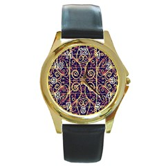 Tribal Ornate Pattern Round Gold Metal Watch